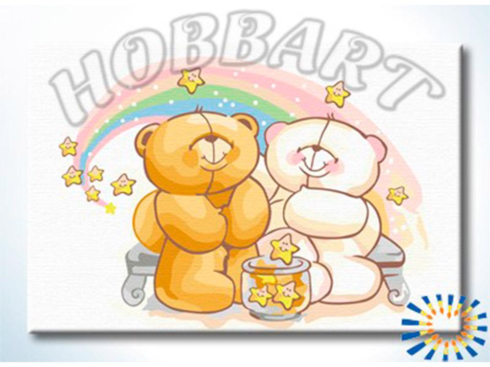 Картина по номерам «Звездные мишки»Hobbart<br><br><br>Артикул: HB2030053<br>Основа: Холст<br>Сложность: сложные<br>Размер: 20x30 см<br>Количество цветов: 17<br>Техника рисования: Без смешивания красок
