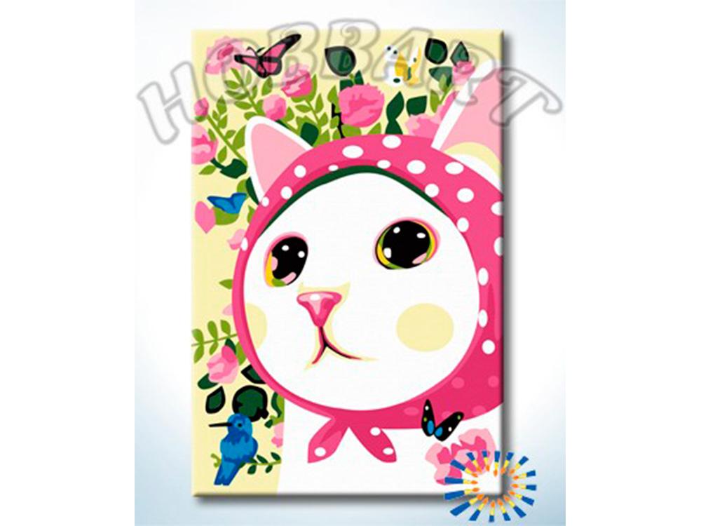 Картина по номерам «Кошечка в платочке»Hobbart<br><br><br>Артикул: HB2030088-Lite<br>Основа: Цветной холст<br>Сложность: очень легкие<br>Размер: 20x30 см<br>Количество цветов: 12<br>Техника рисования: Без смешивания красок