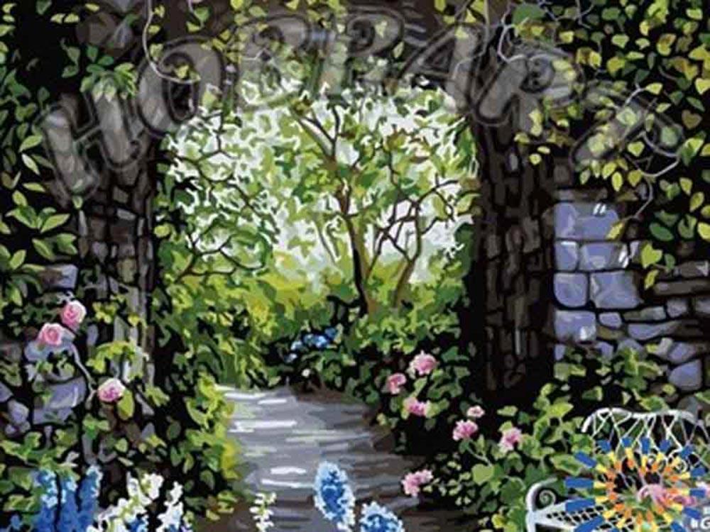 Картина по номерам «Цветущий сад» Сьюзан РиосHobbart<br><br><br>Артикул: HB4050042<br>Основа: Холст<br>Сложность: очень сложные<br>Размер: 40x50 см<br>Количество цветов: 26<br>Техника рисования: Без смешивания красок