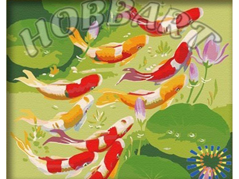 «Карпы удачи»Hobbart<br><br><br>Артикул: HB4050060<br>Основа: Холст<br>Сложность: сложные<br>Размер: 40x50 см<br>Количество цветов: 25<br>Техника рисования: Без смешивания красок