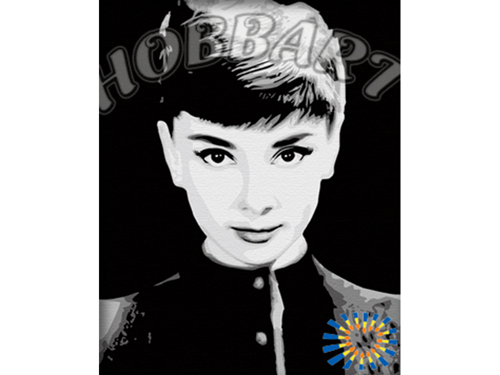 Картина по номерам «Одри Хепберн»Hobbart<br><br><br>Артикул: HB4050068<br>Основа: Холст<br>Сложность: сложные<br>Размер: 40x50 см<br>Количество цветов: 7<br>Техника рисования: Без смешивания красок