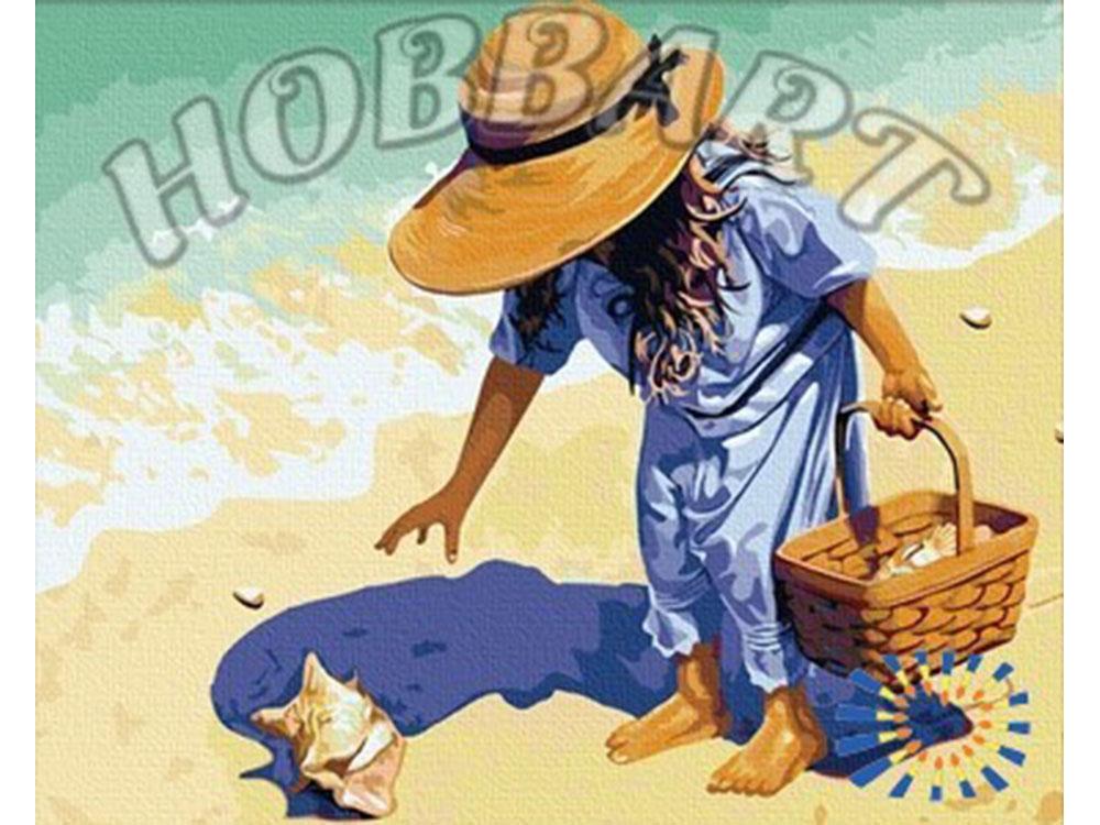 «На пляж, за ракушками!»Hobbart<br><br><br>Артикул: HB4050087<br>Основа: Холст<br>Сложность: средние<br>Размер: 40x50 см<br>Количество цветов: 28<br>Техника рисования: Без смешивания красок