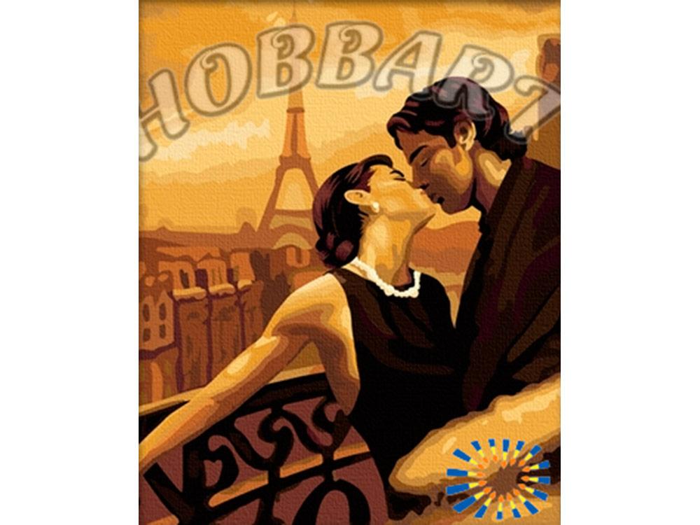 Картина по номерам «Поцелуй в Париже»Hobbart<br><br><br>Артикул: HB4050103<br>Основа: Холст<br>Сложность: сложные<br>Размер: 40x50 см<br>Количество цветов: 25<br>Техника рисования: Без смешивания красок