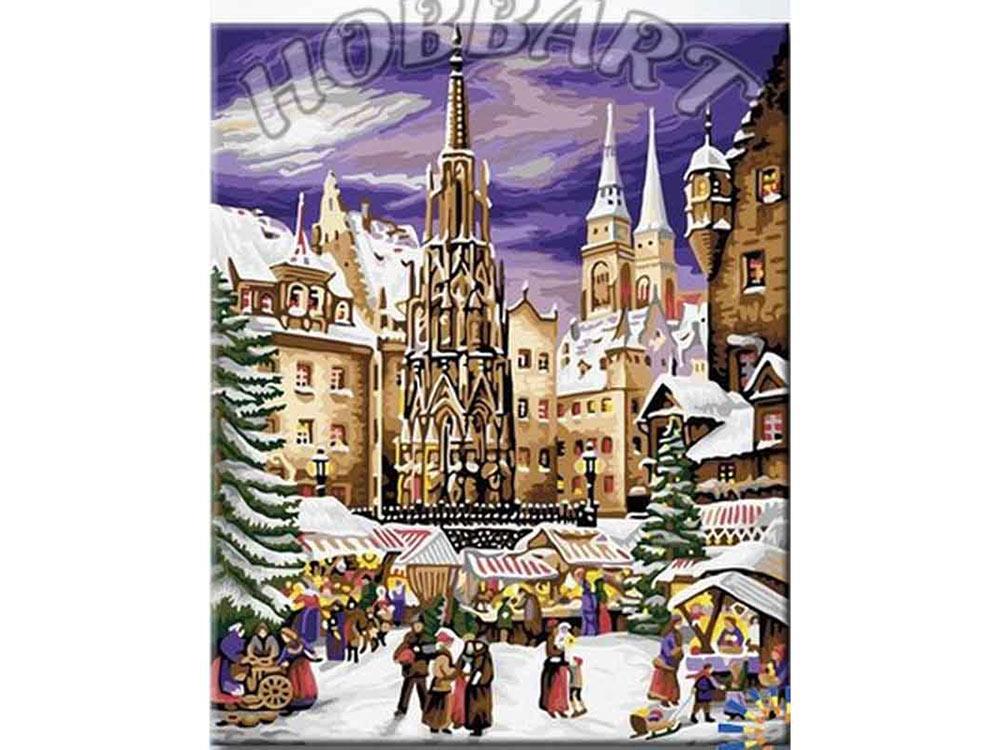 Картина по номерам «На рождественской ярмарке»Hobbart<br><br><br>Артикул: HB4050289<br>Основа: Холст<br>Сложность: сложные<br>Размер: 40x50 см<br>Количество цветов: 25<br>Техника рисования: Без смешивания красок