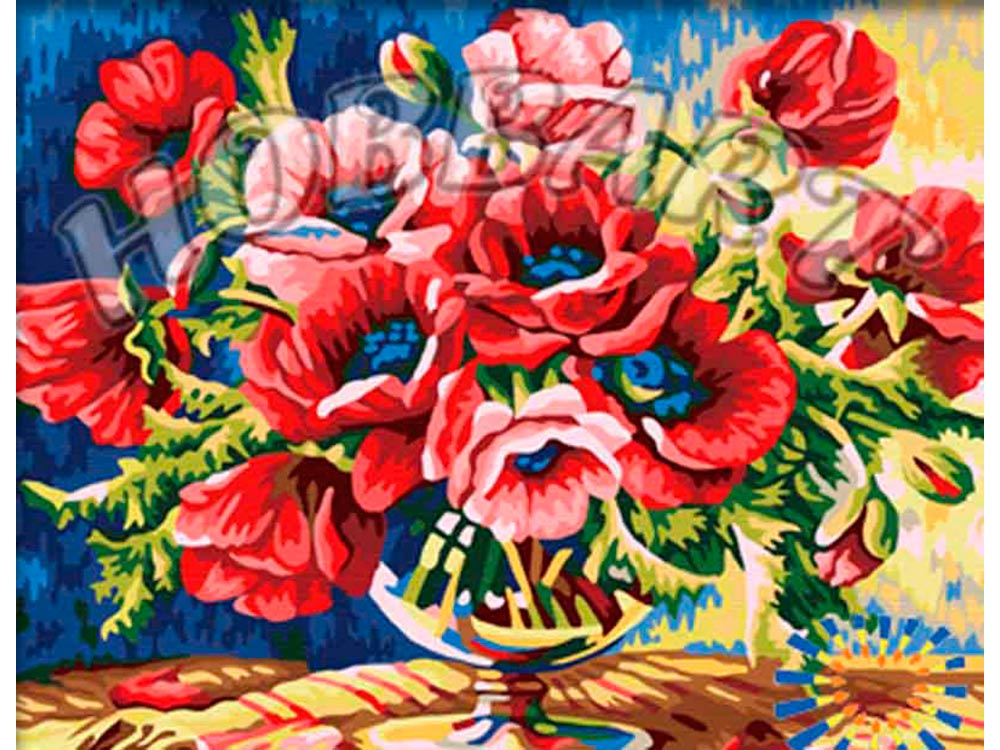 Картина по номерам «Безудержные маки»Hobbart<br><br><br>Артикул: HB4050290<br>Основа: Холст<br>Сложность: сложные<br>Размер: 40x50 см<br>Количество цветов: 25<br>Техника рисования: Без смешивания красок