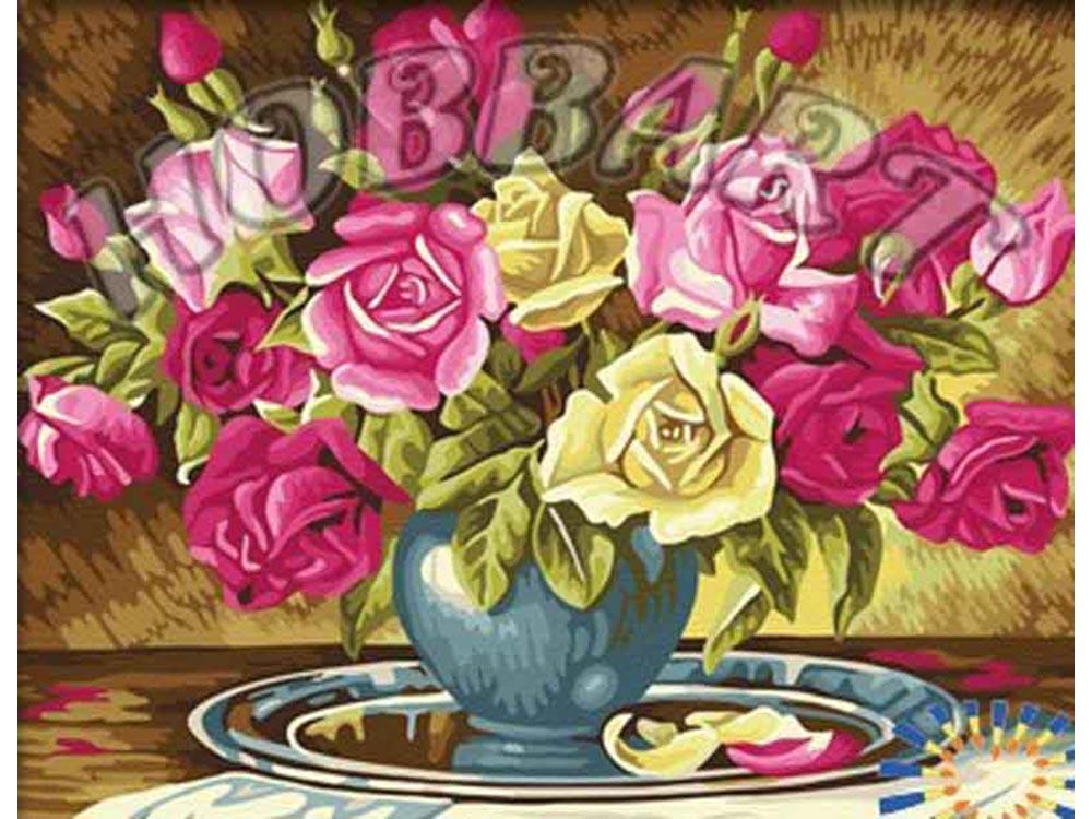 «Пышно-розовый букет»Hobbart<br><br><br>Артикул: HB4050306<br>Основа: Холст<br>Сложность: сложные<br>Размер: 40x50 см<br>Количество цветов: 25<br>Техника рисования: Без смешивания красок