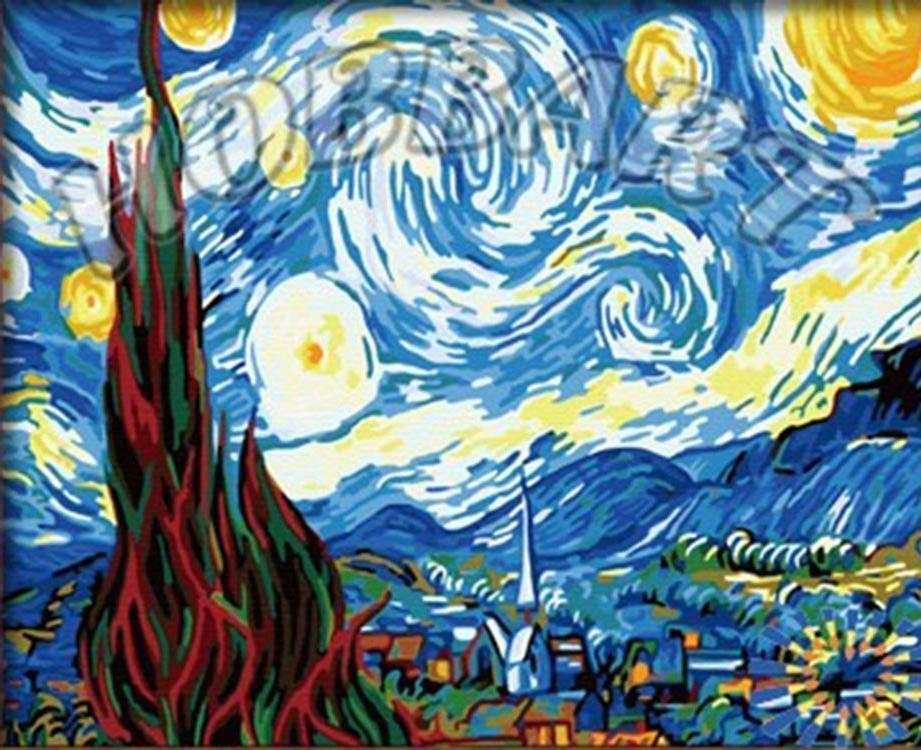 Картина по номерам «Звездная ночь» Ван ГогаHobbart<br><br><br>Артикул: HB4050312-Lite<br>Основа: Цветной холст<br>Сложность: средние<br>Размер: 40x50 см<br>Художник: Ван Гог<br>Количество цветов: 23<br>Техника рисования: Без смешивания красок