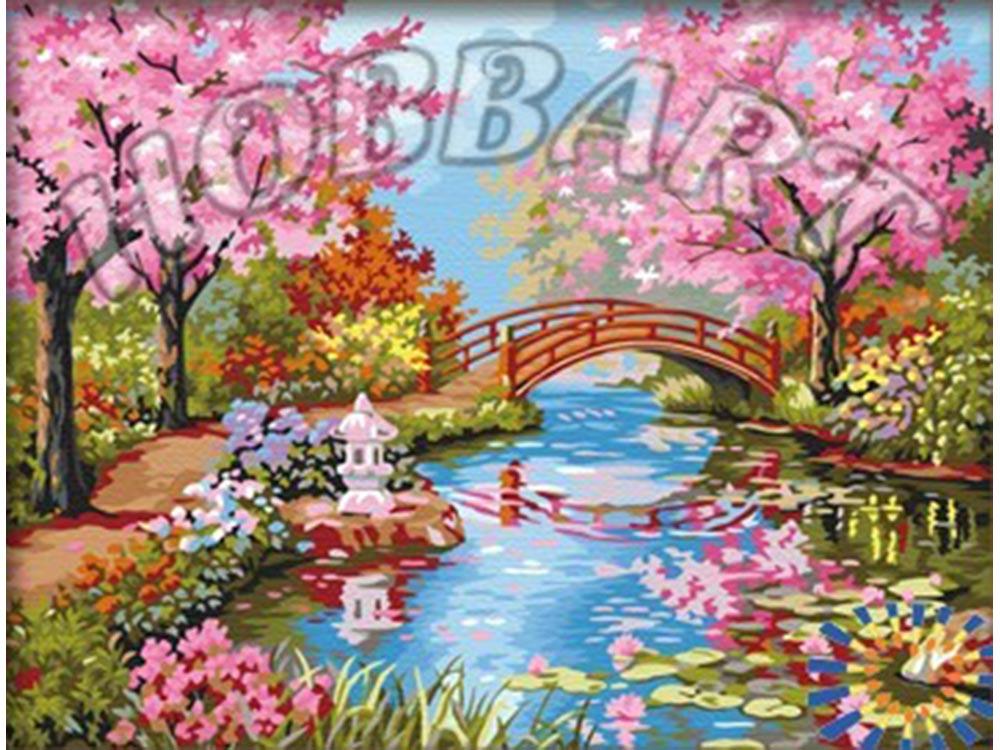 «Японский сад в цвету» Сен КимаHobbart<br><br><br>Артикул: HB4050317<br>Основа: Холст<br>Сложность: средние<br>Размер: 40x50<br>Количество цветов: 29<br>Техника рисования: Без смешивания красок