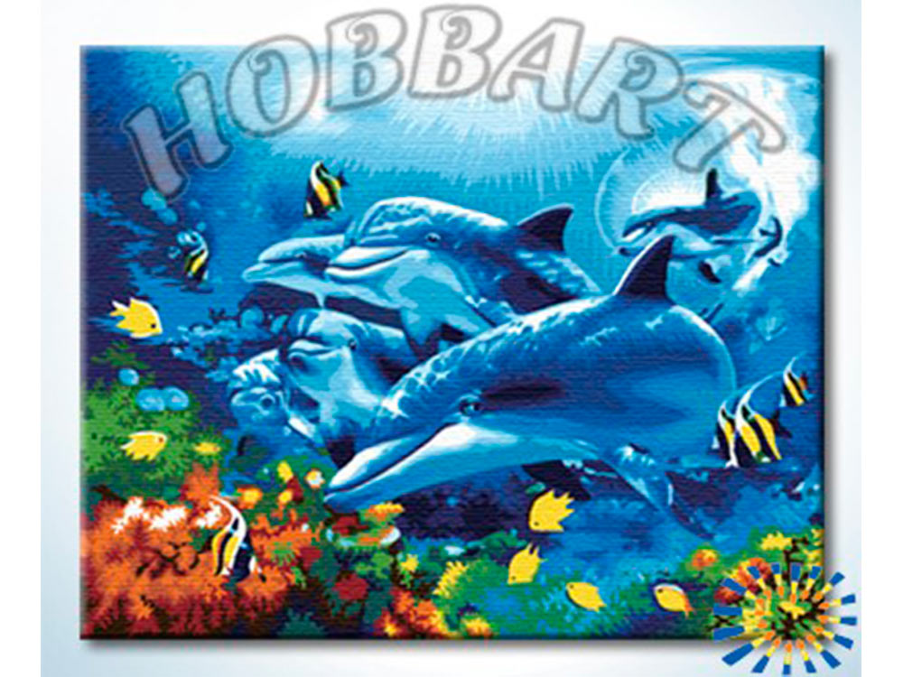 Картина по номерам «Дельфинотерапия»Hobbart<br><br><br>Артикул: HB4050321<br>Основа: Холст<br>Сложность: сложные<br>Размер: 40x50 см<br>Количество цветов: 25<br>Техника рисования: Без смешивания красок