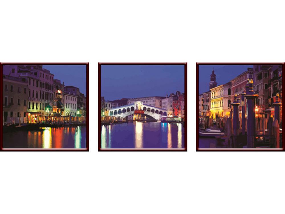 Картина по номерам «Венеция»Раскраски по номерам Color Kit<br><br><br>Артикул: P016<br>Основа: Холст<br>Сложность: сложные<br>Размер: 3 шт. 50х50 см<br>Количество цветов: 28<br>Техника рисования: Без смешивания красок