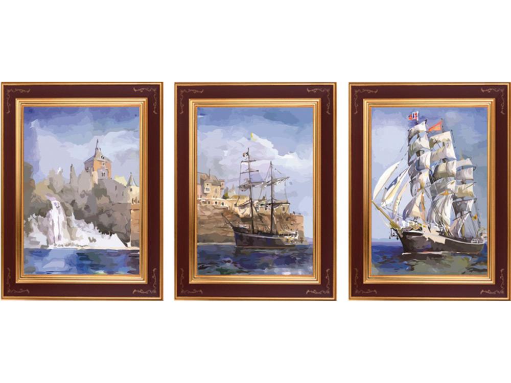 «Морской пейзаж»Раскраски по номерам Color Kit<br><br><br>Артикул: P019<br>Основа: Холст<br>Сложность: сложные<br>Размер: 3 шт. 40х50 см<br>Количество цветов: 32<br>Техника рисования: Без смешивания красок