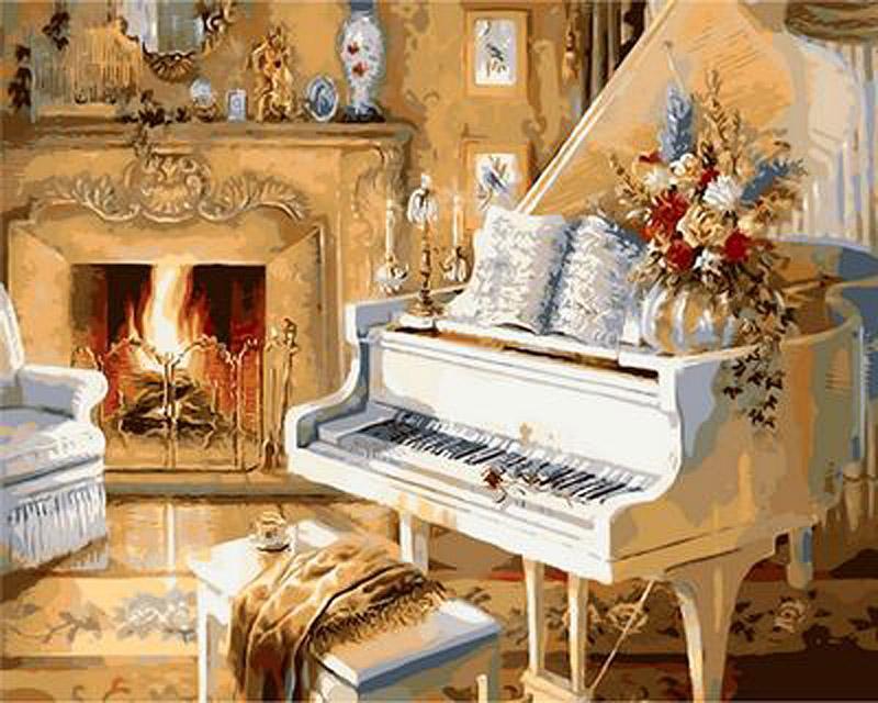 «Белый рояль» Джуди ГибсонPaintboy (Premium)<br><br><br>Артикул: GX9139<br>Основа: Холст<br>Сложность: средние<br>Размер: 40x50 см<br>Количество цветов: 27<br>Техника рисования: Без смешивания красок