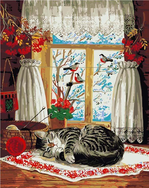 «Зима за окном» Татьяны РодионовойPaintboy (Premium)<br><br><br>Артикул: GX8432<br>Основа: Холст<br>Сложность: сложные<br>Размер: 40x50 см<br>Количество цветов: 25<br>Техника рисования: Без смешивания красок