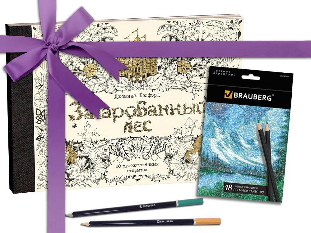 Подарочный набор «Зачарованный лес. 20 художественных открыток»+карандаши 18 цветовКниги-раскраски<br>Подарочный набор раскраски-открытки и набор отличных карандашей - универсальный презент, который порадует своей функциональностью и качеством.<br> <br> Новинка от Джоанны Басфорд, автора мировых бестселлеров Таинственный сад, Зачарованный лес и Затерянны...<br><br>Артикул: HP04<br>Размер: 165x120 см<br>Количество страниц шт: 40