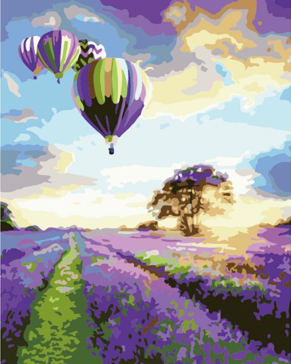 «Полет над лавандовым полем»Раскраски по номерам Paintboy (Original)<br><br><br>Артикул: G043_R<br>Основа: Холст<br>Сложность: средние<br>Размер: 40x50 см<br>Количество цветов: 24<br>Техника рисования: Без смешивания красок