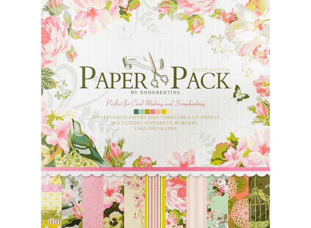 Набор бумаги «Цветы и птицы»Бумага и материалы для скрапбукинга<br><br><br>Артикул: 014-SB<br>Размер: 30,5x30,5 см