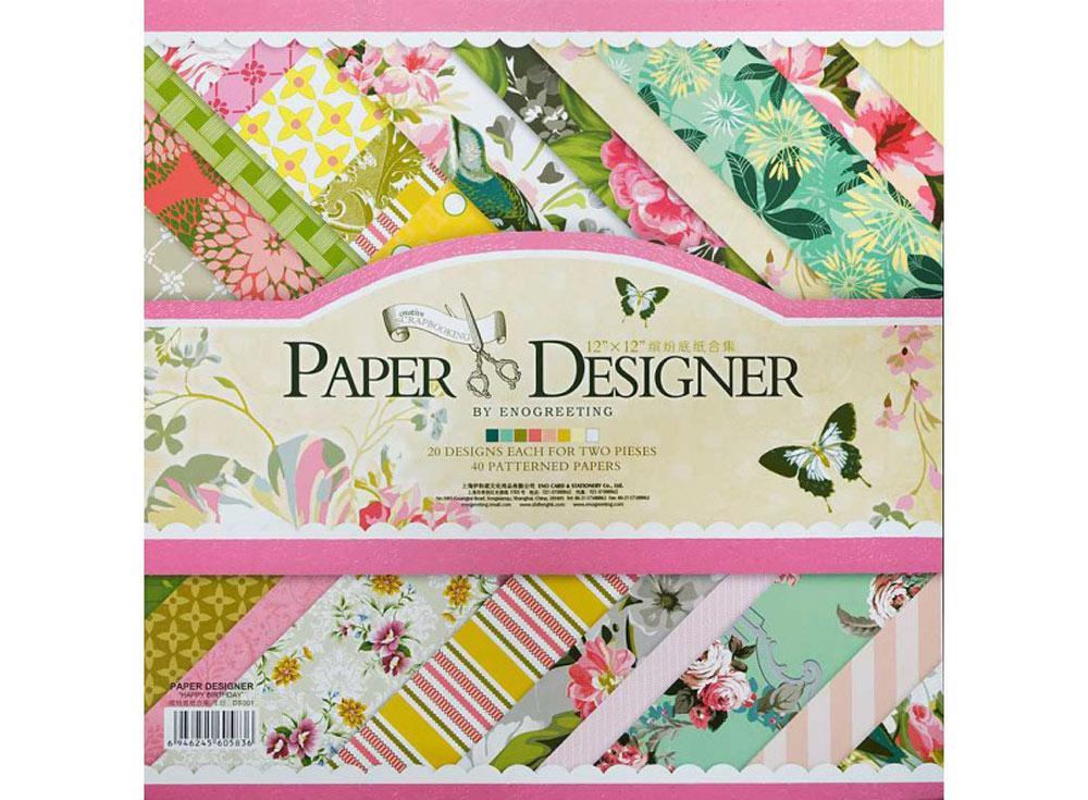 Набор бумаги «Зеленое лето»Бумага и материалы для скрапбукинга<br><br><br>Артикул: 023-SB<br>Размер: 30,5x30,5 см
