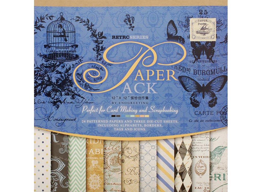 Набор бумаги «Синий сапфир»Бумага и материалы для скрапбукинга<br><br><br>Артикул: 025-SB<br>Размер: 30,5x30,5 см