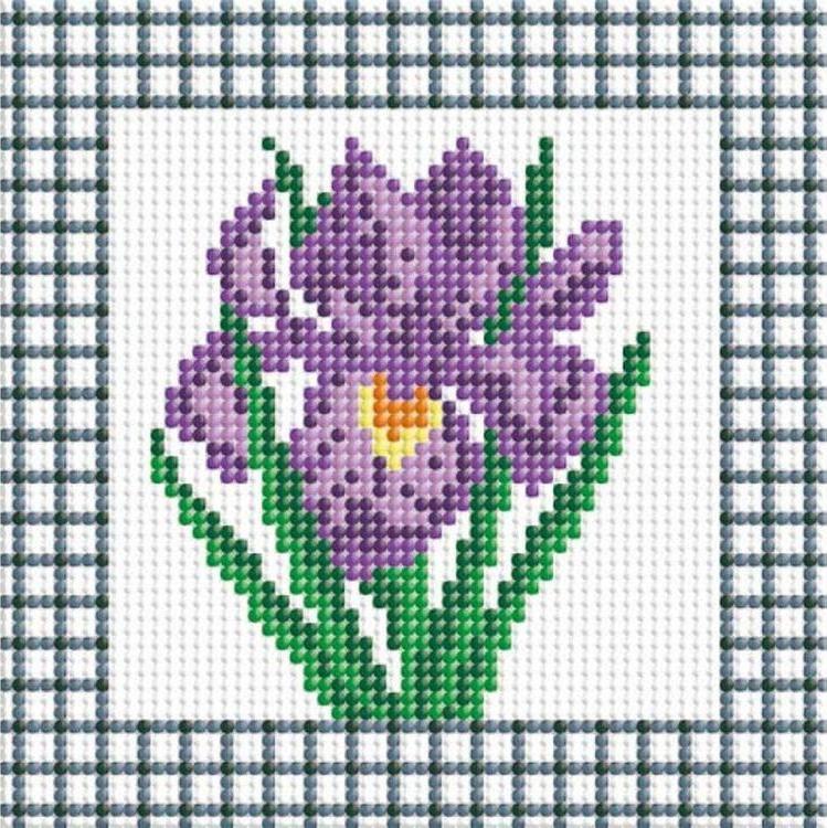 Алмазная вышивка «Фиолетовый ирис»Алмазная вышивка фирмы Белоснежка<br><br><br>Артикул: 034-ST-P<br>Основа: Холст без подрамника<br>Сложность: средние<br>Размер: 15x15 см<br>Выкладка: Полная<br>Количество цветов: 10<br>Тип страз: Круглые непрозрачные (акриловые)