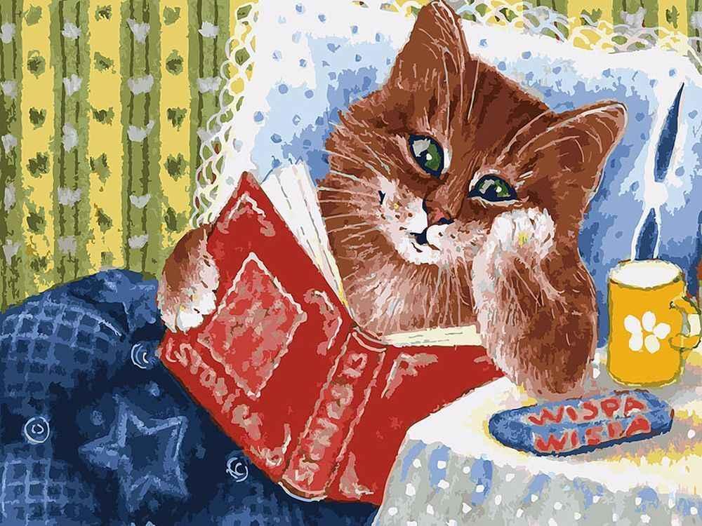 Картина по номерам «Котик с книжкой»Картины по номерам Белоснежка<br><br><br>Артикул: 041-AS<br>Основа: Холст<br>Сложность: очень сложные<br>Размер: 30x40 см<br>Количество цветов: 30<br>Техника рисования: Без смешивания красок