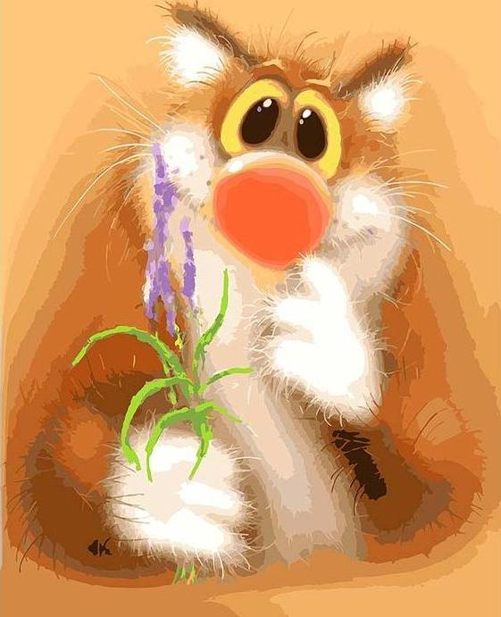 Картина по номерам «Обаятельный котик»Картины по номерам Белоснежка<br><br><br>Артикул: 043-AS<br>Основа: Холст<br>Сложность: очень сложные<br>Размер: 30x40 см<br>Количество цветов: 28<br>Техника рисования: Без смешивания красок