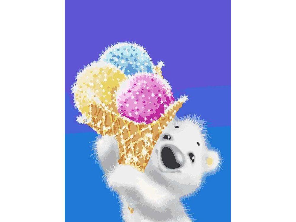 «Медвежонок с мороженым»Картины по номерам Белоснежка<br><br><br>Артикул: 044-AS<br>Основа: Холст<br>Сложность: очень сложные<br>Размер: 30x40<br>Количество цветов: 27<br>Техника рисования: Без смешивания красок
