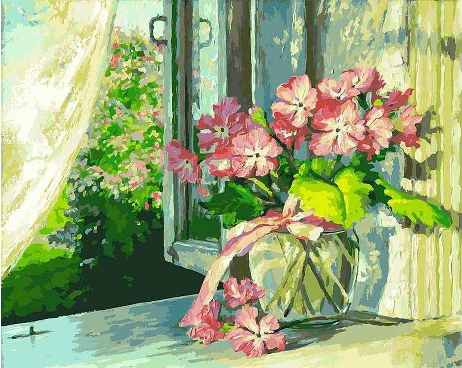 Картина по номерам «Букет на окне»Картины по номерам Белоснежка<br><br>