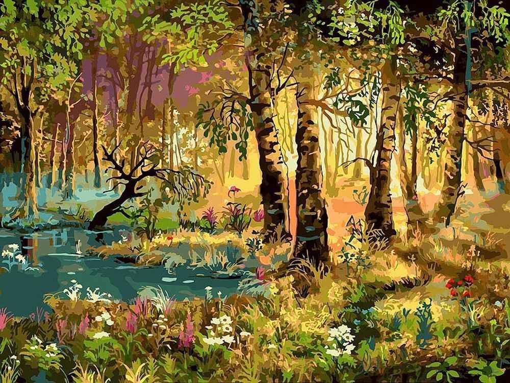 «Утро в лесу» Виктора ЦыгановаКартины по номерам Белоснежка<br><br><br>Артикул: 066-AS<br>Основа: Холст<br>Сложность: очень сложные<br>Размер: 30x40 см<br>Количество цветов: 34<br>Техника рисования: Без смешивания красок