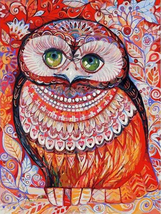 Картина по номерам «Медовая сова» Оксаны ЗаикиКартины по номерам Белоснежка<br><br><br>Артикул: 074-AS<br>Основа: Холст<br>Сложность: очень сложные<br>Размер: 30x40 см<br>Количество цветов: 31<br>Техника рисования: Без смешивания красок