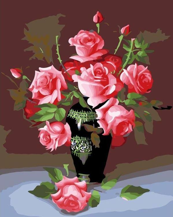 Картина по номерам «Букет роз»Раскраски по номерам<br><br>