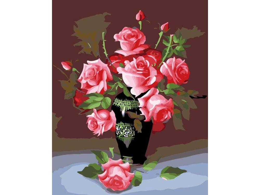 «Букет роз»Картины по номерам Белоснежка<br><br><br>Артикул: 079-CG<br>Основа: Холст<br>Сложность: средние<br>Размер: 40x50 см<br>Количество цветов: 24<br>Техника рисования: Без смешивания красок