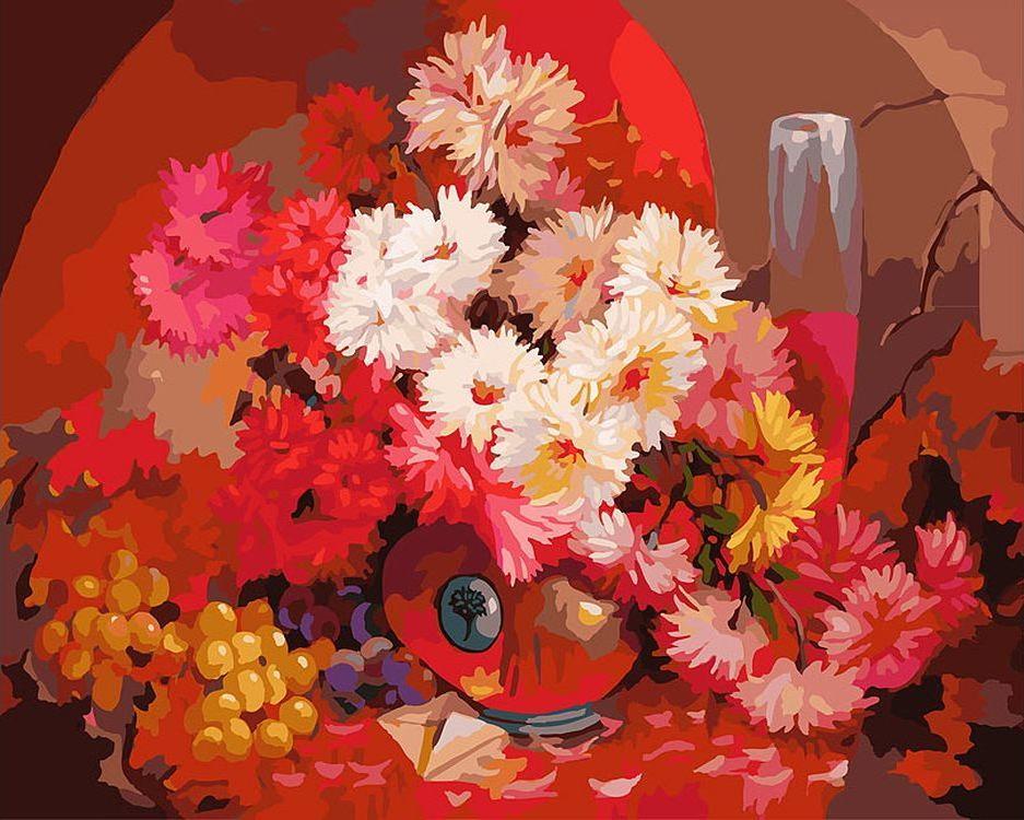 «Бархатный букет» Антона ГорцевичаКартины по номерам Белоснежка<br><br><br>Артикул: 087-AB<br>Основа: Холст<br>Сложность: очень сложные<br>Размер: 40x50 см<br>Количество цветов: 36<br>Техника рисования: Без смешивания красок