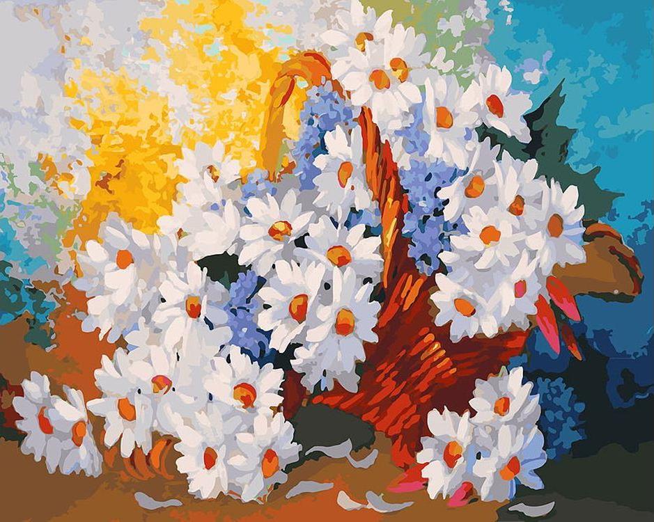 Картина по номерам «Корзинка с ромашками» Антона ГорцевичаКартины по номерам Белоснежка<br><br><br>Артикул: 088-AB<br>Основа: Холст<br>Сложность: очень сложные<br>Размер: 40x50 см<br>Количество цветов: 35<br>Техника рисования: Без смешивания красок