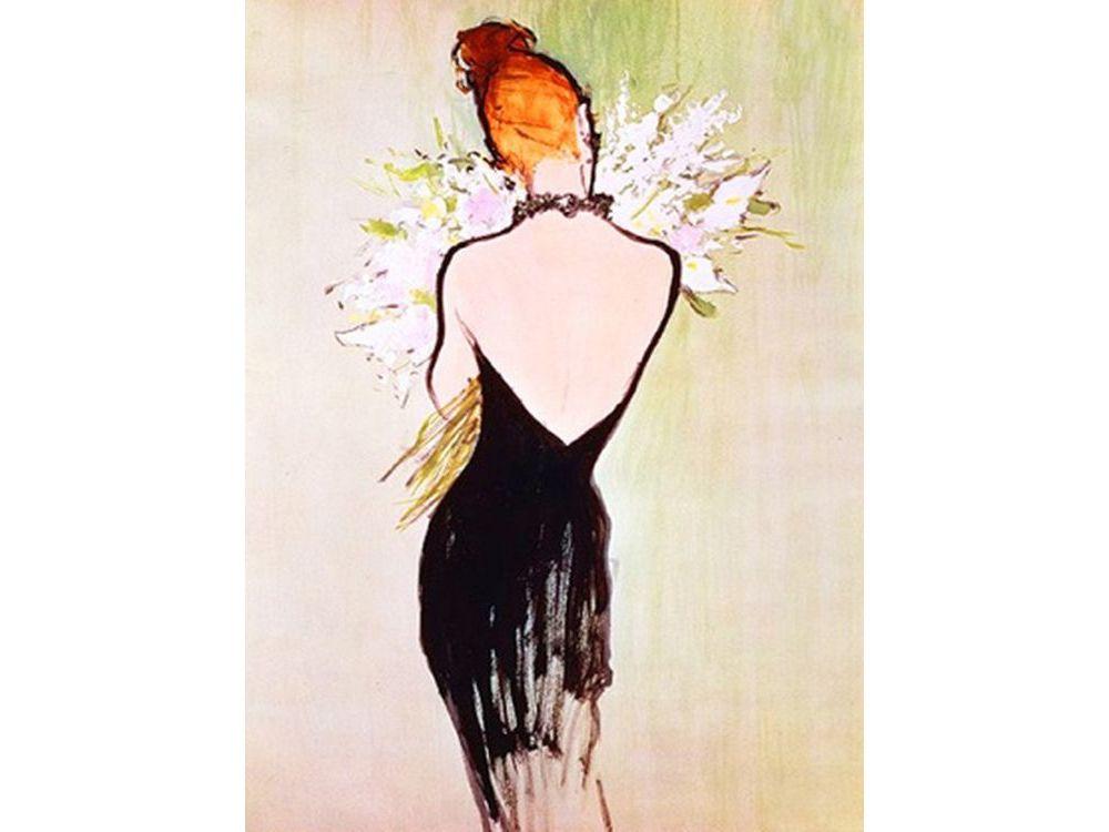 Стразы «Маленькое черное платье» Рене ГрюоАлмазная вышивка Color Kit (Колор Кит)<br><br><br>Артикул: 10019<br>Основа: Холст без подрамника<br>Сложность: средние<br>Размер: 30x40 см<br>Выкладка: Частичная<br>Количество цветов: 15<br>Тип страз: Круглые непрозрачные (акриловые)