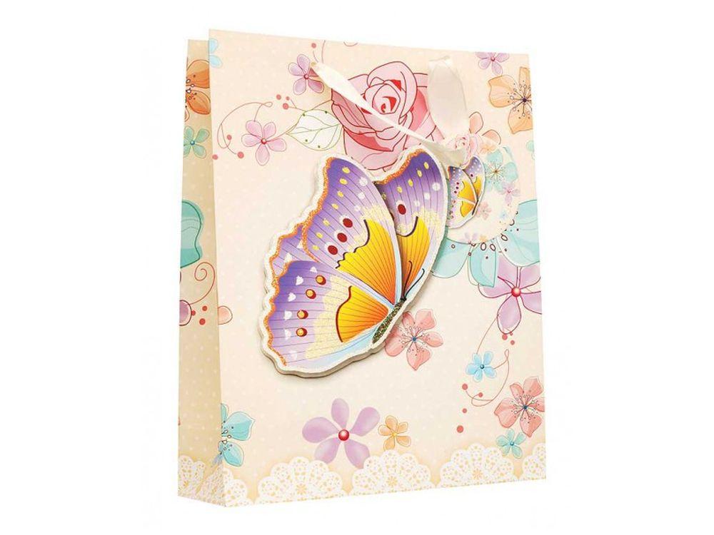 Подарочный пакет «Бабочка в цветах»Подарочные пакеты<br><br><br>Артикул: 1400-SB<br>Размер: 18x24x8 см