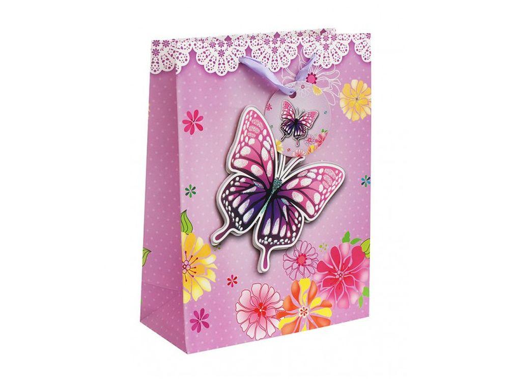Подарочный пакет «Сиреневая бабочка»Подарочные пакеты<br><br><br>Артикул: 1401-SB<br>Размер: 18x24x8 см