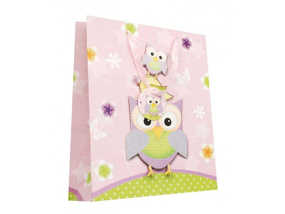 Подарочный пакет «Сиреневые совы»Подарочные пакеты<br><br><br>Артикул: 1406-SB<br>Размер: 26x32x10 см