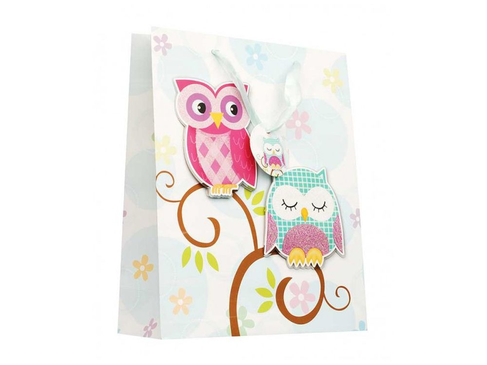 Подарочный пакет «Совушки»Подарочные пакеты<br><br><br>Артикул: 1409-SB<br>Размер: 26x32x10 см