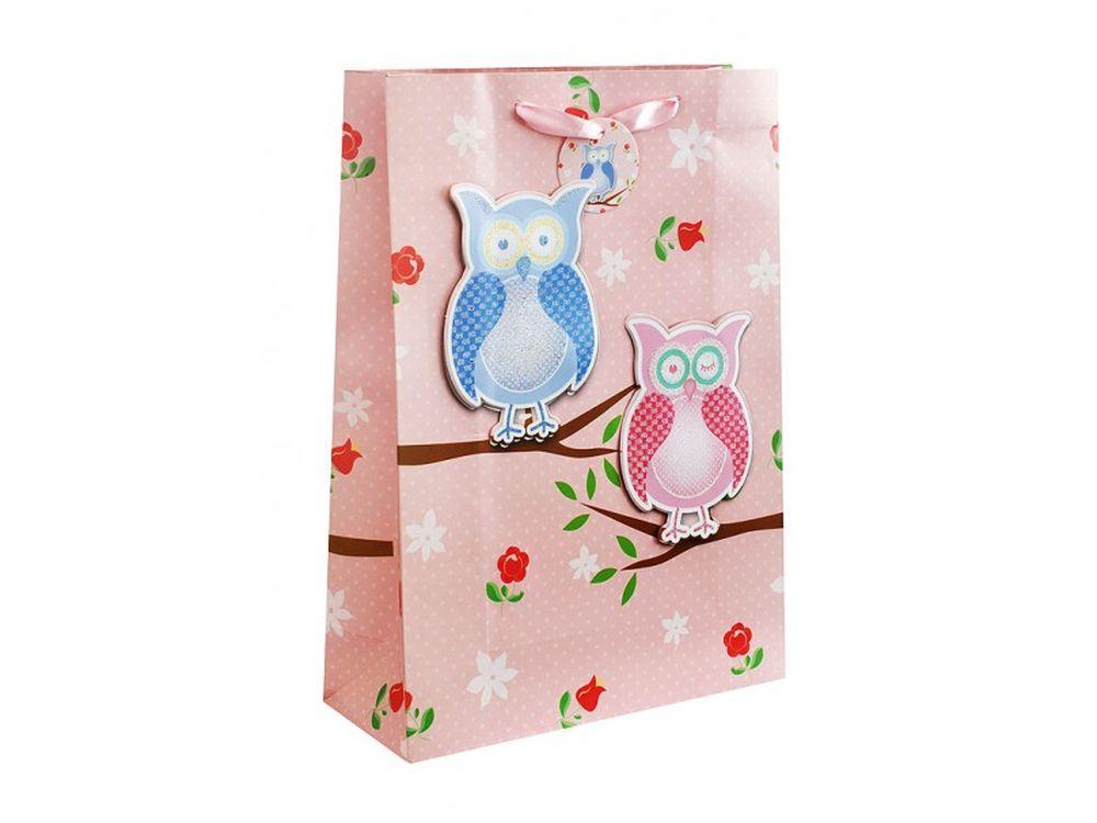Подарочный пакет «Три совы на розовом»Подарочные пакеты<br><br><br>Артикул: 1411-SB<br>Размер: 30x42x12 см