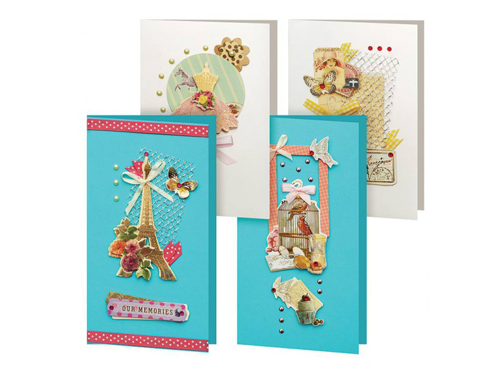 Набор из 4-х открыток «Грация»Наборы для создания открыток<br><br><br>Артикул: 150-SB<br>Размер: 11,5x17 см