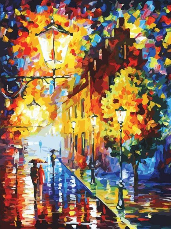 «Огни в ночи» Леонида АфремоваКартины по номерам Белоснежка<br><br><br>Артикул: 2004-AM<br>Основа: Холст<br>Сложность: очень сложные<br>Размер: 60x80 см<br>Количество цветов: 45<br>Техника рисования: Без смешивания красок