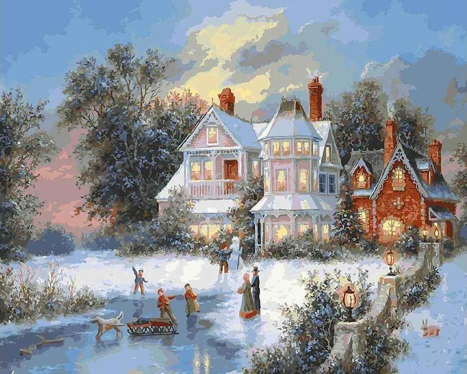 Картина по номерам «Зимний день»Картины по номерам Белоснежка<br><br><br>Артикул: 331-AB<br>Основа: Холст<br>Сложность: очень сложные<br>Размер: 40x50 см<br>Количество цветов: 35<br>Техника рисования: Без смешивания красок