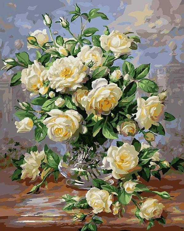 «Белые розы» Альберта УильямсаКартины по номерам Белоснежка<br><br><br>Артикул: 373-AB<br>Основа: Холст<br>Сложность: очень сложные<br>Размер: 40x50 см<br>Количество цветов: 28<br>Техника рисования: Без смешивания красок
