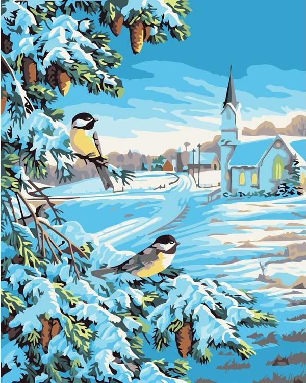 Картина по номерам «Снежная зима»Картины по номерам Белоснежка<br><br><br>Артикул: 520-CG<br>Основа: Холст<br>Сложность: средние<br>Размер: 40x50 см<br>Количество цветов: 18<br>Техника рисования: Без смешивания красок