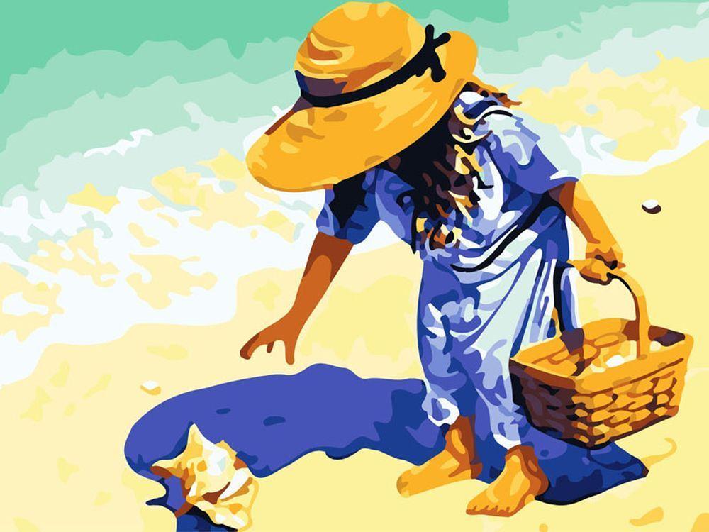 «На пляж, за ракушками!»Картины по номерам Белоснежка<br><br><br>Артикул: 565-CG<br>Основа: Холст<br>Сложность: средние<br>Размер: 40x50 см<br>Количество цветов: 27<br>Техника рисования: Без смешивания красок
