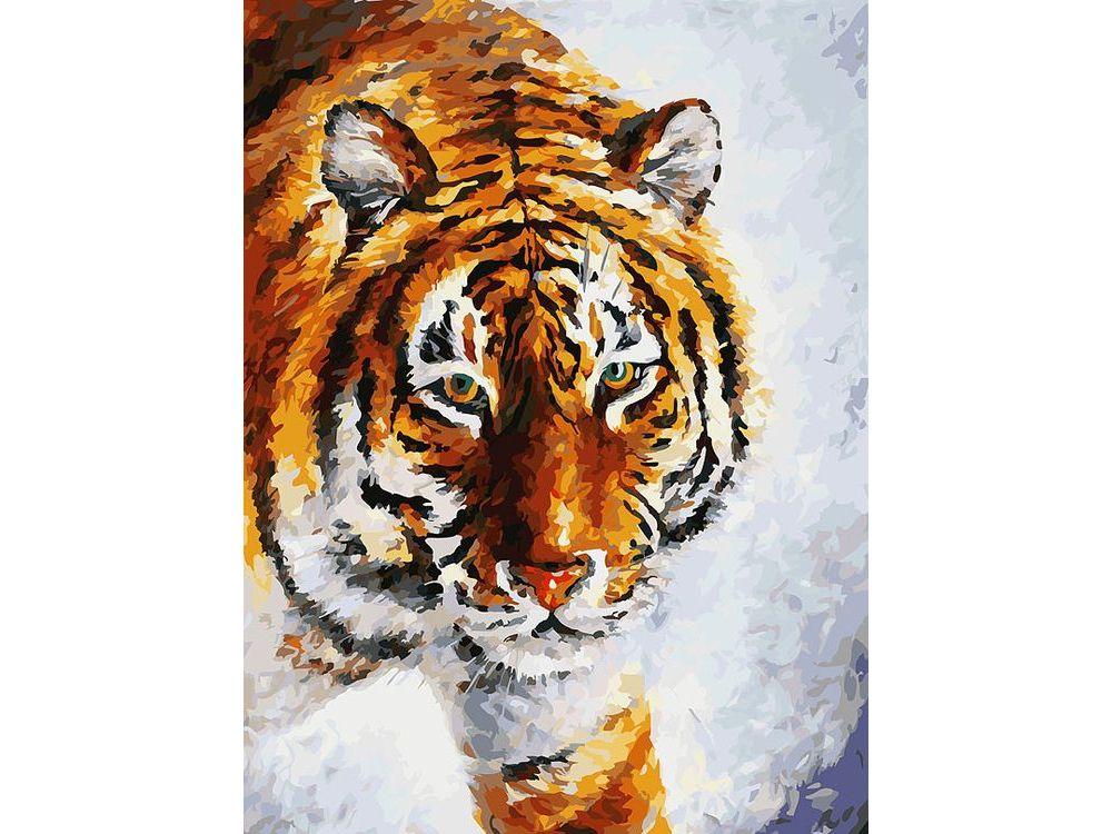 «Тигр на снегу» Леонида АфремоваКартины по номерам Белоснежка<br><br><br>Артикул: 780-AS<br>Основа: Холст<br>Сложность: очень сложные<br>Размер: 30x40<br>Количество цветов: 35<br>Техника рисования: Без смешивания красок