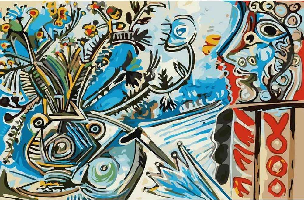 Картина по номерам «Цветы и человек с зонтом» Пабло ПикассоКартины по номерам Белоснежка<br><br><br>Артикул: 801-AB<br>Основа: Холст<br>Сложность: средние<br>Размер: 40x50 см<br>Количество цветов: 23<br>Техника рисования: Без смешивания красок