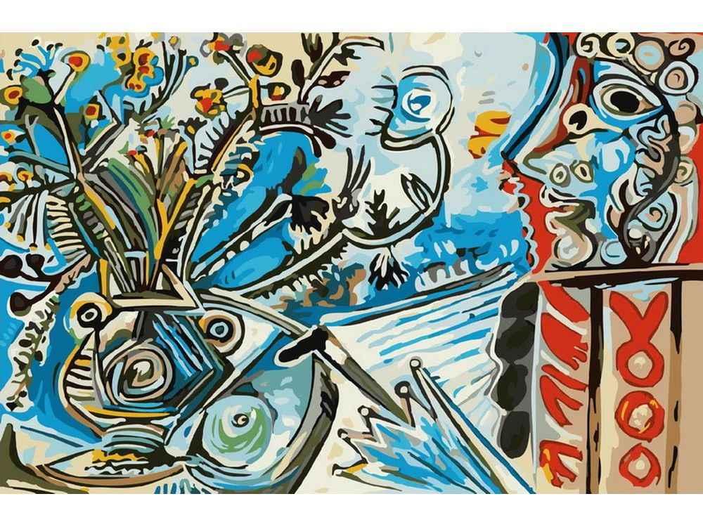 «Цветы и человек с зонтом» Пабло ПикассоКартины по номерам Белоснежка<br><br><br>Артикул: 801-AB<br>Основа: Холст<br>Сложность: средние<br>Размер: 40x50<br>Количество цветов: 23<br>Техника рисования: Без смешивания красок