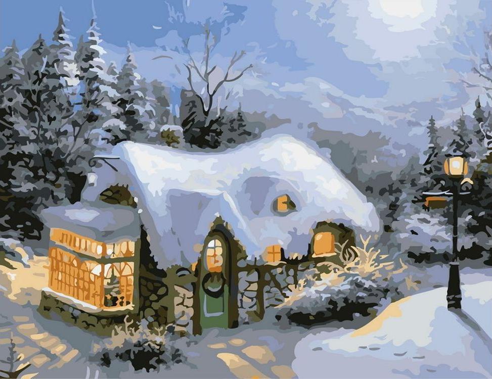 Картина по номерам «Зимний вечер»Картины по номерам Белоснежка<br><br><br>Артикул: 831-AB<br>Основа: Холст<br>Сложность: средние<br>Размер: 40x50 см<br>Количество цветов: 25<br>Техника рисования: Без смешивания красок