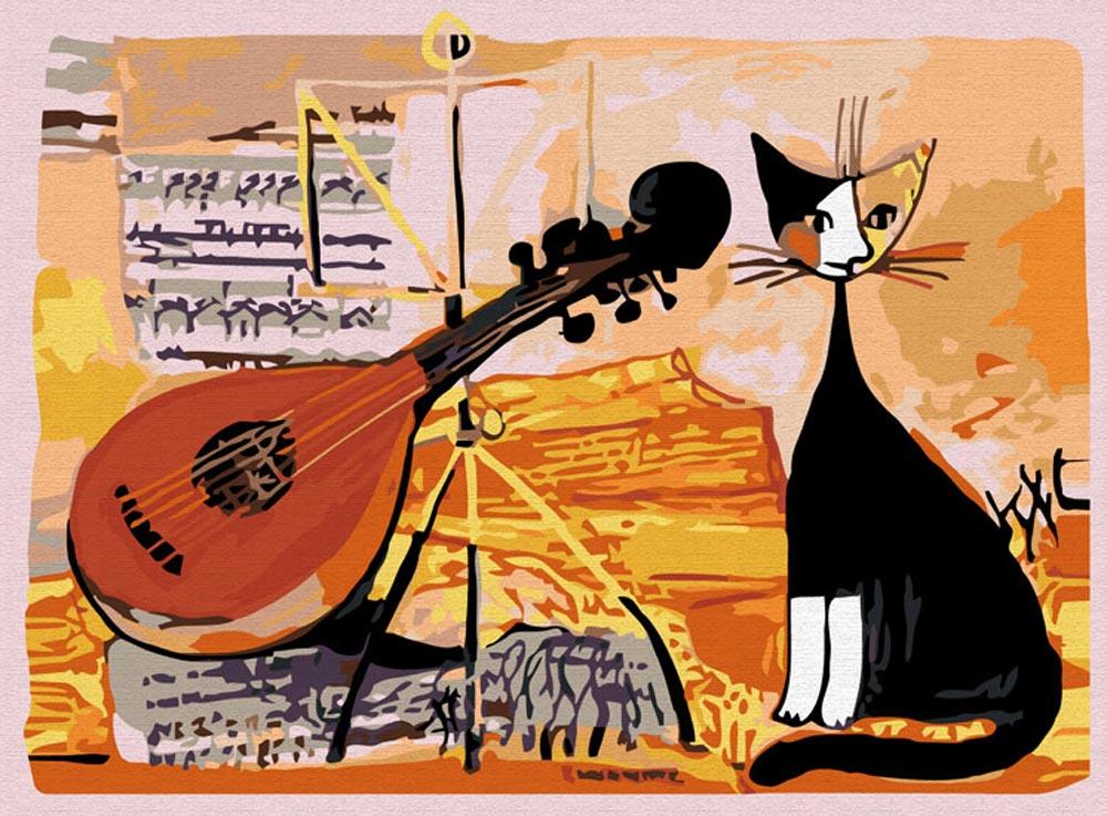 «Кот-музыкант» Розины ВайхтмайстерРаскраски по номерам Color Kit<br><br><br>Артикул: CE005<br>Основа: Холст<br>Сложность: средние<br>Размер: 30x40 см<br>Количество цветов: 18<br>Техника рисовани: Без смешивани красок